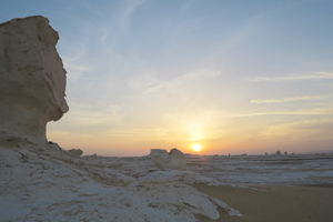 White desert sunset